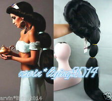 Anime Aladdin Jasmine princess Long Black Wigs Classic Party Cosplay + wig cap