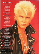BILLY IDOL Cradle of Love lyrics magazine PHOTO/Poster/clipping 11x8 inches