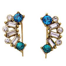 N511 Crystal Sapphire Emerald Ear Jacket Stud Statement Earrings Women Jewelry