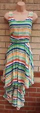 BE BEAU GREEN MULTI COLOR FLIPPY FLARE FULL SKATER STRIPED STRIPE DRESS 16 XL