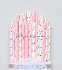 50 Light Pink and Gold Foil Star Straws/Twinkle Twinkle Little Star/Baby Shower
