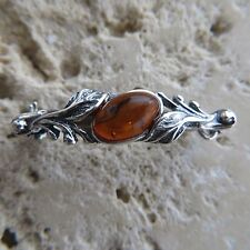 Genuine BALTIC AMBER Brooch 925 STERLING SILVER / Ambre baltique & Argent #0049