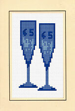 "45th Sapphire Glasses Wedding Anniversary - Cross Stitch Card Kit 4""x6"" 14 Count"