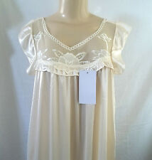 CREAM SLEEVELESS SHORT NIGHTGOWN CHEMISE SLEEPWEAR POLYESTER FITS  LARGE