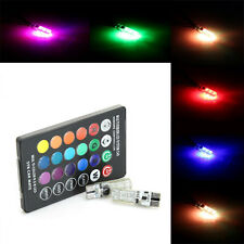1Pair T10 6LED RGB Car Interior Dome Light Reading Lamp Bulb + Remote Control