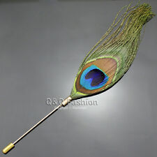 Peacock Feather Plume Boutonniere Gold Lapel Brooch Tie Hat Scarf Stick Pin W8