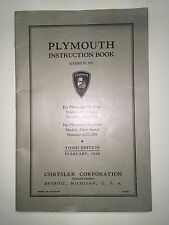 February 1936 Plymouth Instruction Book