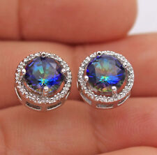 18K White Gold Filled - Round Blue MYSTICAL Topaz Hollow Party Gemstone Earrings