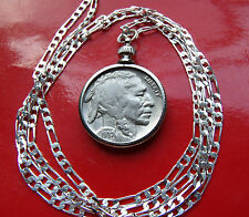 "Handsome Classic 1937 Buffalo Nickel Pendant on a 28"" .925 Sterling Silver Chain"