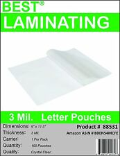 Best  3 Mil Crystal Clear Letter Size Thermal Laminating Pouches 9X11.5 Qty 100