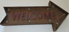 Welcome Lighted Metal Sign Arrow Marquee Rustic Holiday Battery