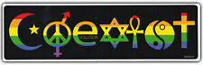 Bumper Sticker: COEXIST Symbols Peace Evolution Harmony Rainbow Style
