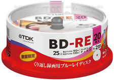 20 TDK BD-RE 25GB Rohlinge Rewritable 2x Speed Bluray Disc Made in Japan Version