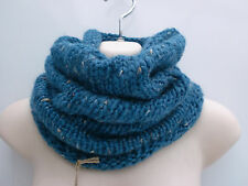 Micas Blue Flecked Wool Blend Hand Knitted Snood Scarf