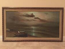 Large Gorgeous Vintage Original Oil Painting Seascape Agnese Torrielli Italian