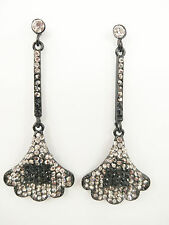 "Fashion Black Plated Gingko Biloba Leaf Style Rhinestone 3 3/4"" Long Earring"