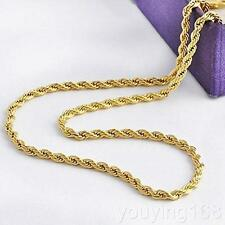 "Real 24K Yellow Gold GF Twist Rope Chain 23.6"" Necklace Womens Mens Jewelry 2mm"
