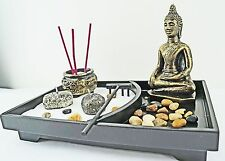 Zen Garden Kit Tabletop Decor Meditation Sand Rocks Candleholder Rake Feng Shui