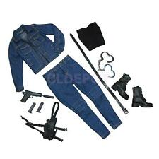 "1/6 Female Jeans Jacket Pants Boots Full Outfit for 12"" Kumik Phicen Hot Toy"