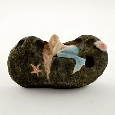 Miniature Fairy Garden Little Mermaid Sleeping on Stone /Gnome Figurine TO 4360