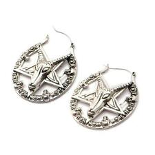 Pentagram Goat hoop earrings body piercing jewelry  tunnel 20g 316L gothic witch