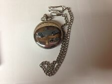 Austin Healey Sprite MK2 ref17 emblem on polished silver case pocket watch