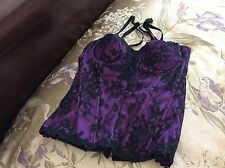 VICTORIA'S SECRET SEXY LITTLE THINGS BLACK LACE/ PURPLE CORSET BUSTIER UW SZ 36C
