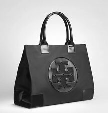 NWT Tory Burch Ella Nylon Large Logo Tote Bag Black patent