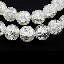 8mm Clear Crackle Glass Beads (48+ per strand)