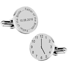 Personalised Silver Plated Father of The Bride Wedding Time & Date Cufflinks