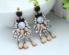 Women Fashion Jewelry Crystal Rhinestone Flowers Dangle Ear Stud Earrings Hook