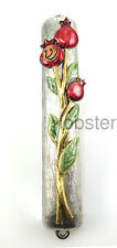 COLORFUL POMEGRANATE SILVER GOLD PLATED MEZUZAH includes Prayer Scroll Quest USA