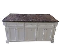 6 ft white Kitchen Island w/Baltic Brown Granite top /Trash tray-KC05H-332-BB