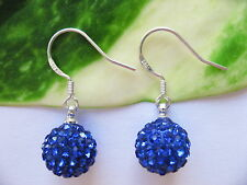 925 Sterling Silver Stamped 10mm Disco Ball Shamballa Drop Earrings Gift