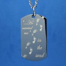 FOOTPRINTS IN THE SAND PRAYER DOG TAG NECKLACE STAINLESS STEEL RHODIUM PLATED