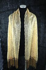 B125 Sequin Gold Metallic With Boutique Scalloped Edge Shawl Scarf Wrap