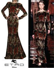 NEW $6,242 ETRO RUNWAY VELVET PRINTED DRESS GOWN 42 - 8