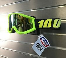 100% Motocross Offroad Strata MX Goggles Neon Yellow / Mirror Gold Lens