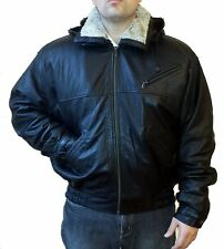 GENUINE LAMB LEATHER COAT JACKET W/ REMOVABLE LINING, HOOD, SHEARLING COLLAR,XXL