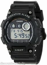 Casio W735H-1AV Mens BLACK Resin Digital Sports Watch Alarm Stopwatch 100M NEW