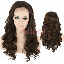 UK Ship Fashion Women Long Wavy Dark Brown Mixed Synthetic Lace Front Wig Hair