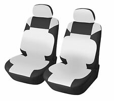 Leather Like 2 Front Car Seat Covers for Kia 153 Bk/white