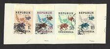 Republik Indonesia 1949 Map, UPU emblem & Banteng imperf 4v used ex Jim Czyl
