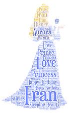 Personalised Word Art Print Sleeping Beauty Daughter Disney princess gift card