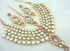 TRADITIONAL LAVENDER KUNDAN GOLD TONE NECKLACE SET BOLLYWOOD BRIDAL JEWELRY