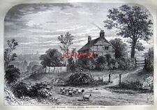 Antique 1876 Old London Engraved Print: 'Richard Steele's House Haverstock Hill'
