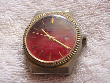 Vintage Remington Electra Watch Red Dial Datomatic 23 Date
