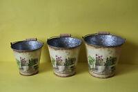 3 Blumentöpfe Übertöpfe Set Blumendekor Eimer  Shabby Chic Landhaus  NEU 080210