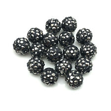 20Pcs Mineral Black Micro Pave Crystal Disco Shamballa Beads Bracelet Spacer New