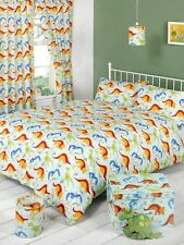 CHILDREN BOYS DOUBLE BED BEDDING QUILT /DUVET COVER SET DINOSAURS DINOLAND
